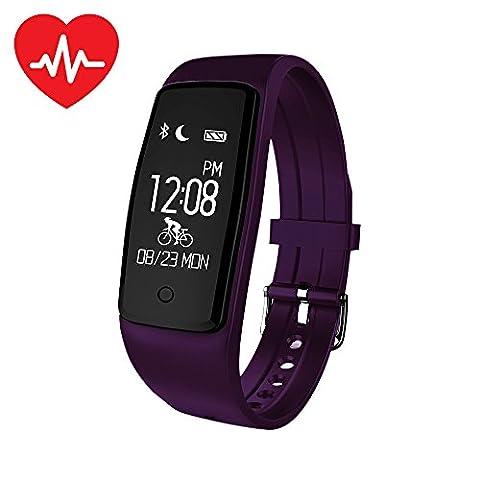 Fitness Tracker XCSOURCE Bracelet Cardio Tracker d'Activité Smart Bracelet Bluetooth 4.0 mètre Montre sport Podomètre Calories Sommeil Intelligent Montre Cardio fréquence Etanche IP67 (VIOLET) Pour iOS iPhone Android AC869