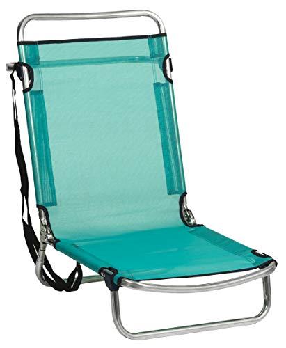 alco-660alf-0030 Chaise de Plage Aluminium, fibreline, Positions, Couleur Bleu-Vert, 67 x 52 x 11.5 cm (660alf-0030)