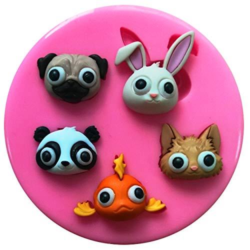 Fairie Blessings Silikonform für Kuchen und Cupcakes, Motiv Mops/Kaninchen, Panda, Kätzchen, Fische, zum Dekorieren von Kuchen, Cupcakes, Zuckerguss, Werkzeug