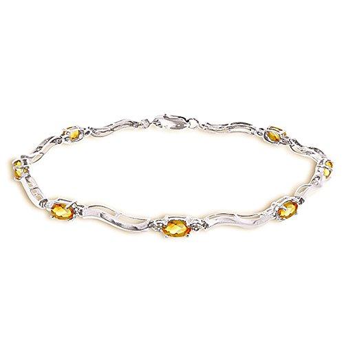 QP Jewellers naturale di quarzo citrino-Bracciale in oro bianco 9 ct, taglio ovale, 4940W 2,0ct, Oro bianco, colore: arancione, cod. 4940W-8.5
