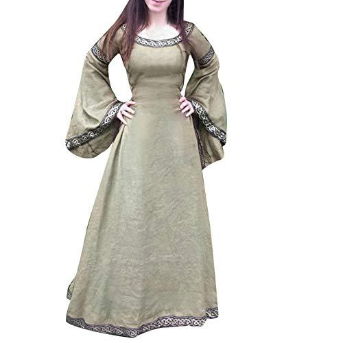 Donut Kleid Kostüm - Xmiral Damen Mittelalterliches Kleid Unregelmäßige Lange Ärmel Cosplay Maxi Kleider Kostüm für Karneval, Maskerade(2XL,Braun)
