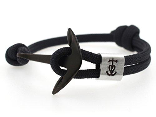 KOMIMAR Anker Armband GLAUBE-LIEBE-HOFFNUNG mit persönlicher PRÄGUNG / GRAVUR in vielen Anker & Tau Farben - cool lässiger Surf Style - Freundschaftsarmband - personalisiert - Gravur Armband - Geburtstagsgeschenk - Geschenkidee - Handgemacht - Yachting - Initiale - personalisierbar - Herren Armband - Damen Armband