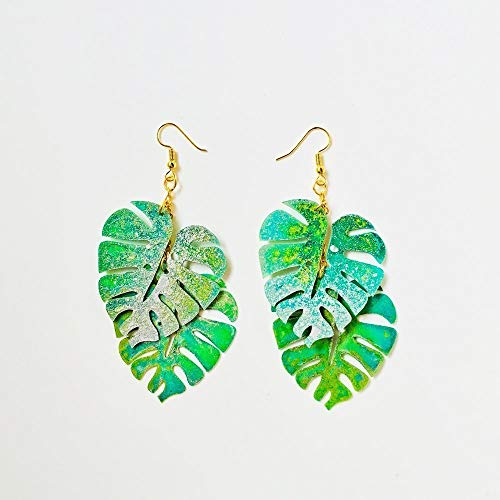 Monstera Blatt Tropfen Ohrring - Tropical Blatt Ohrringe - Trending Schmuck - Rockabilly Monstera Jewelry - Neuheit Ohrring - Coole Ohrringe -
