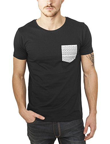 Urban Classics TB971 Herren T-Shirt Contrast Pocket Tee Mehrfarbig (Blk/Aztec 674), Medium (Herren Pocket T-shirts)