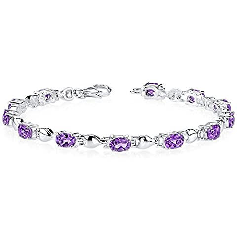Revoni Exquisite Classic: 4.50 carats total weight Oval Shape Amethyst Gemstone Bracelet in Sterling Silver