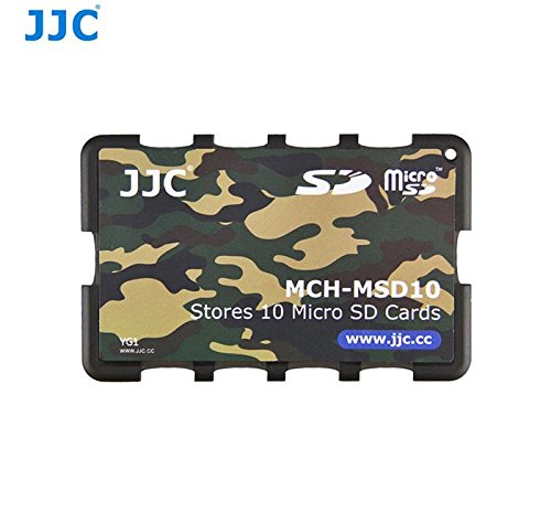 JJC MCH-MSD10 Credit Card Size Memory Card Holder Hard Case for 10 x Micro SD -Camouflage