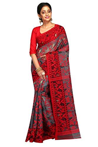 B3Fashion Handloom Traditional Light weight all over work Dhakai Jamdani Saree (Grey...