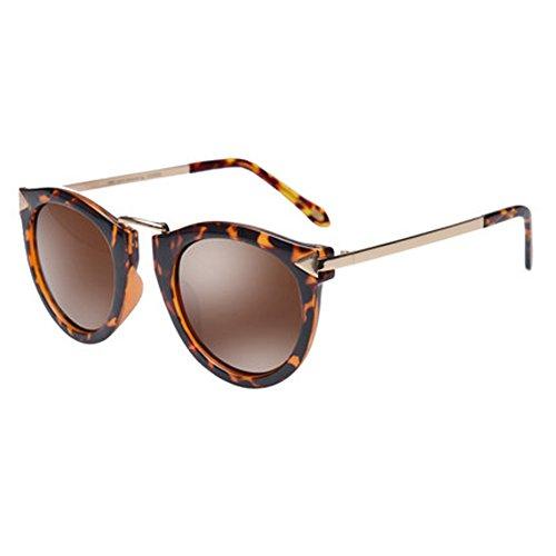 Damenmode Sonnenbrille Damen UV-Schutz Gläser runden Gesicht dünne Brille,A
