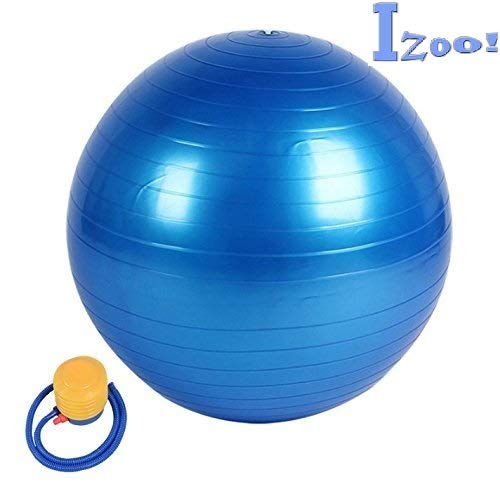 Izoo® Anti Burst Gym Ball with Free Air Pump | Fitness Exercise Stability Non-Slip, Extra-Thick Yoga Ball | Unique, Safe and Stylish Gymnastic ball | Overall Heavy Duty Body Muscles Strengthener Exerciser | Fitness Ball for Physical Therapy, Pilates, Yoga, Barre, Stability Ball, Shoulder and Core Training | A best Fitness Equipment for both Men and Women | A Perfect Gift for Fitness Lover. (Blue, 65)