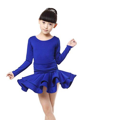 Byjia Kinder Langarm Ballett Tanzen Kostüm . Blue . 130 (Dance Kostüme Ballett Lyrical)