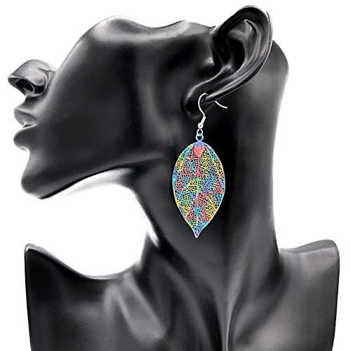 Ohrringe SEASONS Blatt bunt mehrfarbig Dreiecke hängend modern einzigartig lang filigran groß Muster Damen Schmuck Design