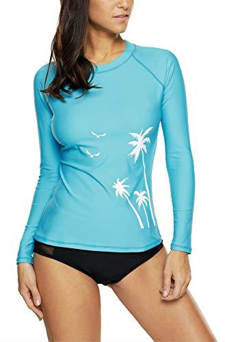 V FOR CITY Frauen Bademode Schwimmshirt Langarm UV Shirt Rash Guard Badeshirt UPF 50+ XL -