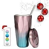 KING DO WAY Edelstahl Tumbler mit Stroh Deckel 16 oz Double Walled Travel Mug Halten Sie Kaffee und Wasser Pink-Blue