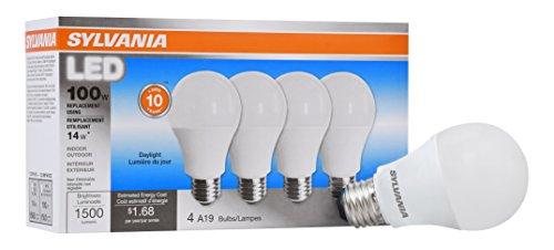 Sylvania Home Beleuchtung 78103A19Sylvania, entspricht 100W, LED Lampe, 4Stück, effiziente 14W 5000K, Tageslicht, 4Stück (Sylvania 100w Led-lampe)