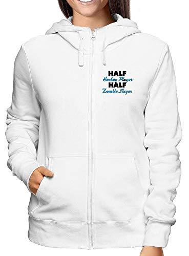 T-Shirtshock Sweatshirt Damen Hoodie Zip Weiss WTC1231 Half Hockey Player Half Zombie Slayer