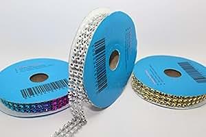 3m length of 15mm (3 row) faux diamond diamante ribbon ROLL END