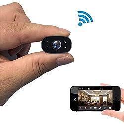 Caméra Espion Cachée Cam Mini IP WiFi HD1080P Vision Nocturne Détection de Mouvement Caméra de Surveillance de Sécurité pour iPhone/ Android/ Support Maximum Carte de 128G(Pas Incluse)