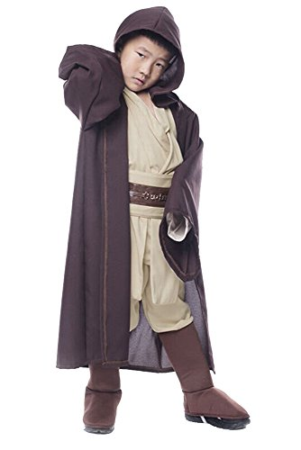 Star Wars Jedi Obi Wan Kenobi Kostüm Cosplay Halloween Kinder Anzug Uniform M (Kostüm Wars Star Halloween)