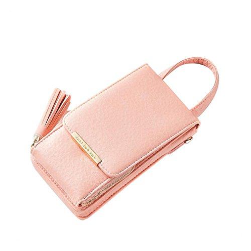 YAN Frauen Brieftasche Umhängetaschen Handytasche, Universal-Multi-Tasche Crossbody Tasche mit Schultergurt (Color : Rosa) - Multi-kupplungs-geldbeutel