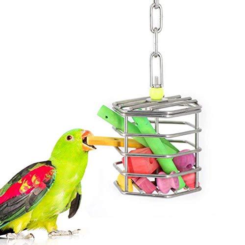 pengyu- Jaula de alimento para pájaros, Loros, Ardillas, Comida para Colgar, para morder Juguetes, para Mascotas, Vida cómoda, Solo Bloques