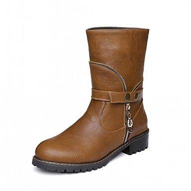 Rtry Femmes Chaussures Pu Similicuir Automne Hiver Confort Nouveauté Mode Bottes Chunky Bottes Talon Bout Rond Genou Boucle Haute Bottes Pour Partie & Amp; Us6.5-7 / Eu37 / Uk4.5-5 / Cn37