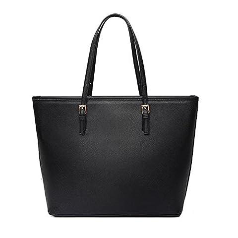 Ladies Designer Leather Style Large Tote Bag Shoulder Satchel Handbag(Black)