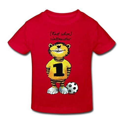 Spreadshirt Janosch Tiger Fast Schon Weltmeister Kinder Bio-T-Shirt, 152 (11-12 Jahre), Rot (Dribbeln, Mädchen Fußball-t-shirt)
