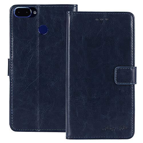 TienJueShi Dark Blau Premium Retro Business Flip Book Stand Brieftasche Leder Tasche Schütz Hülle Handy Telefon Case Für Archos Core 60S 6 inch Abdeckung Wallet Cover Etui