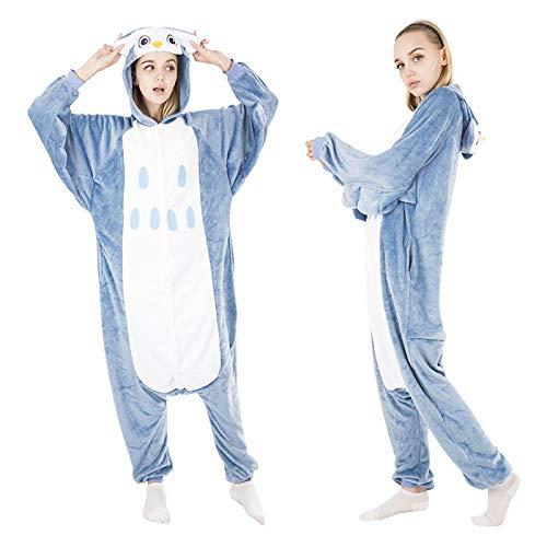 JYLW Damen Schlafanzug Erwachsene Einteilige Onesie Einhorn Halloween-Kostüme Für Frauen Monster Hooded Winter Warm Frauen Tier Pyjamas, Eule Louguewear, M