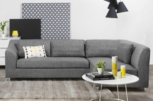 FabHomeDecor Mia FHD628 Three Seater Sectional Sofa (Grey)