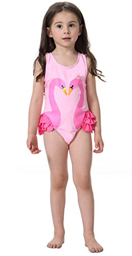 Flamingo Badeanzüge Mädchen Schwimmanzug mit Badekappe Baby Kinder Kleinkind Neckholder Bikini Bademode Schwan Badeanzug (Flamingo Für Baby Kostüm)