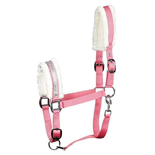 netproshop Pferde Halfter mit Kunstfell und Beschrifteten Silberfarbenen Nasenband, Groesse:Cob, Farbe:Rosa -
