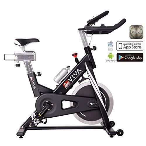 AsVIVA Indoor Cycle Speedbike S14 Bluetooth   inkl. SPD Klickpedale & Brustgurt (Pulsgurt)   23kg Schwungmasse   App kompatibel   stufenlose Widerstandseinstellung