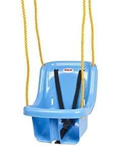 Dolu Outdoor Garden Swinging Swing Seat With Safety Belt Rope And Mounting Rings BLUE