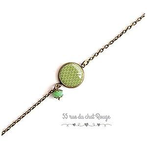 Armband feine Bronzekette, japanische Wellenillustration, grün und weiß