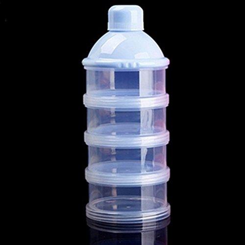 Dispensador de leche en polvo de 4 capas para niños y bebés, dispensador de leche fortual, caja antirelleno, apilable, contenedor de almacenamiento Medium azul celeste