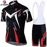 X-TIGER da Ciclismo Maglietta Manica Corta da Uomo + 17D Gel Pantaloncini Corti Imbottiti con pettorina Set di Abbigliamento Ciclista
