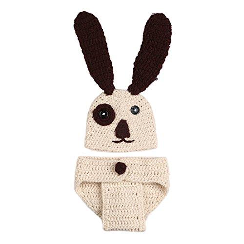 FYGOOD Fotografie Outfits, Baby Kostüm, Neugeborene Baby Kostüm Tier Beige Hund 0-3 (Kostüme Hund Baby)