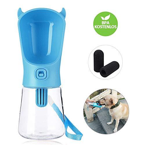 Domipet Tragbare Haustier Flasche mit 3 Filters, Hunde Trinkflasche für Unterwegs, Wasserflasch für Hunde, Katzen, Leckdichte Reisen Tiere Schüssel Dispenser, 350ml, Blau