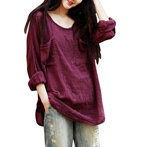 BHYDRY Womens Cotton Leinen Dünnschnitt lose langärmelige Bluse T-Shirt Pullover(2XL,Wein)