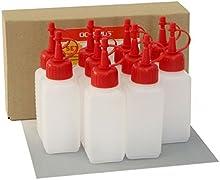 10 Octopus botellas de plástico de 100 ml, botellas de plástico de HDPE con cuentagotas o gotero rojo, p. ej. para e-líquidos / cigarrillos electrónicos, resistentes a los químicos