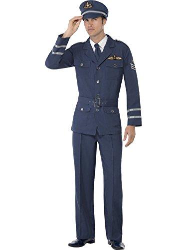 Mens WW2 Air Force Captain Fancy Dress Costume MEDIUM
