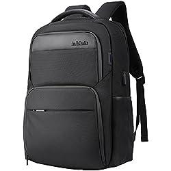 Wasserdicht Laptop Rucksack mit USB-Anschluss - Arctic Hunter Schwarz Rucksack Passt Bis zu 15,6 Zoll Laptops für Reise, Schule, Business, Arbeit