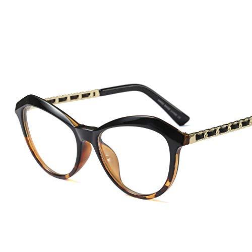 Myopie-Brillengestell, Retro-rundes Gesicht Full Frame Clear Lens Brillen Accessoires (Farbe : Black/Leopard Print)