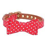 Hund Katze Halsband Hundeleine aus weichem Leder niedlichen Bow Bandana Pet Halsband führen