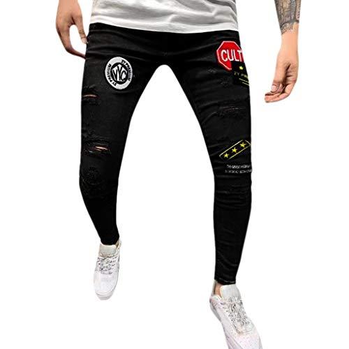 Mymyguoe Herren Slim Badge Denim Füße Hosen Herren Casual Denim Straight Hosen Distressed Jeans Lange Hosen - Classic Distressed Jeans