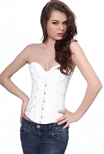 Damen Brokat Vollbrust Body Shaper Korsett Halloween Dessous Corsage Top Weiß
