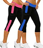 2x Jogging hosen sport Stretch Leggings Strumpfhosen fitness Marineblau&Fuchsie,S