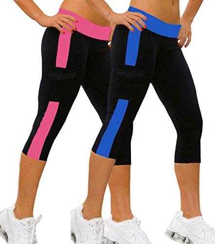 2x Dreiviertel-Hose Damen Sport Leggings Running Pants Fuchsie+Marineblau,M