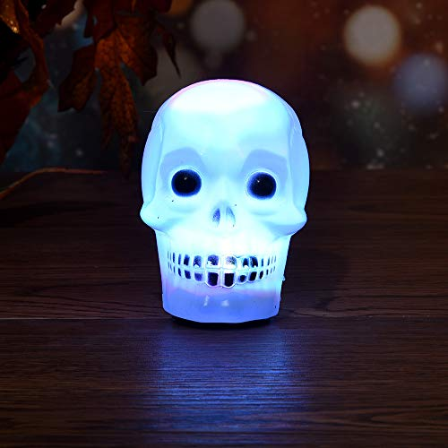 Led Flash Skull Night Light Lamp Halloween Colorful Mini Decore Party Trick Gift Home Decor Home Decoration